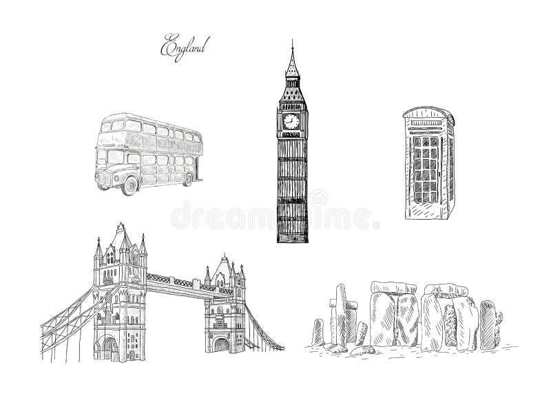 Fije de las señales del viaje de la ciudad, atracción turística en diversos lugares de Inglaterra ilustración del vector