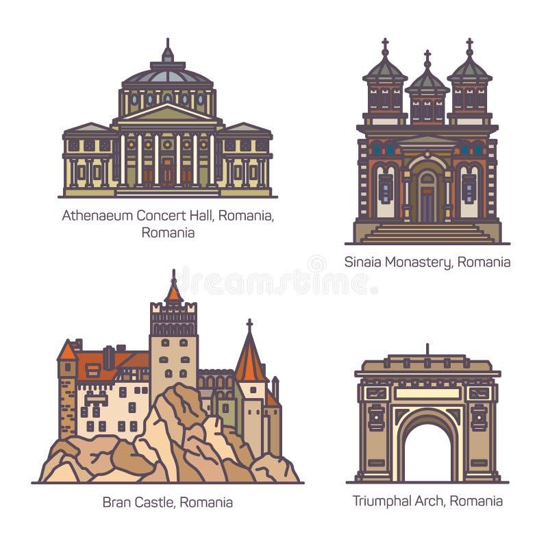 Fije de las señales de la arquitectura de Rumania en línea fina ilustración del vector