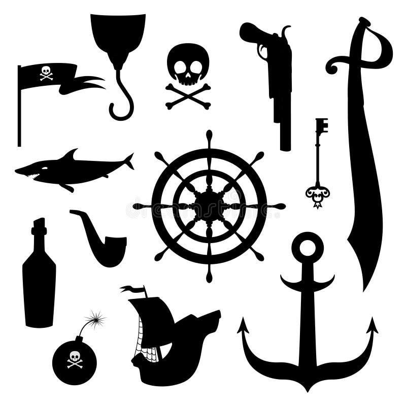 Fije de las siluetas de las cualidades del pirata para el día de fiesta en un estilo de la historieta ilustración del vector