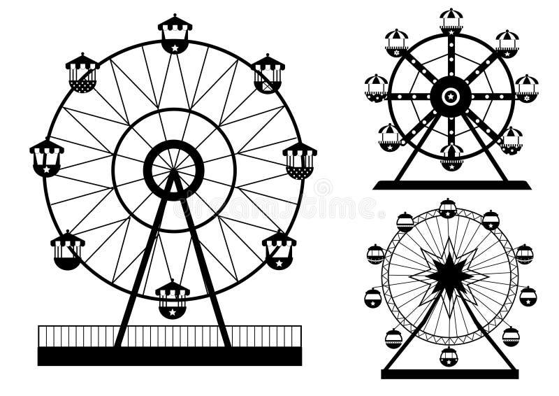 Fije de las siluetas Ferris Wheel del parque de atracciones, ejemplos del vector stock de ilustración