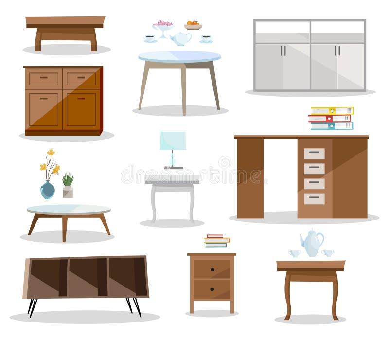 Fije de las tablas del differernt Nightstand cómodo de los muebles, escritorio, tabla de la oficina, mesa de centro en diseño mod stock de ilustración
