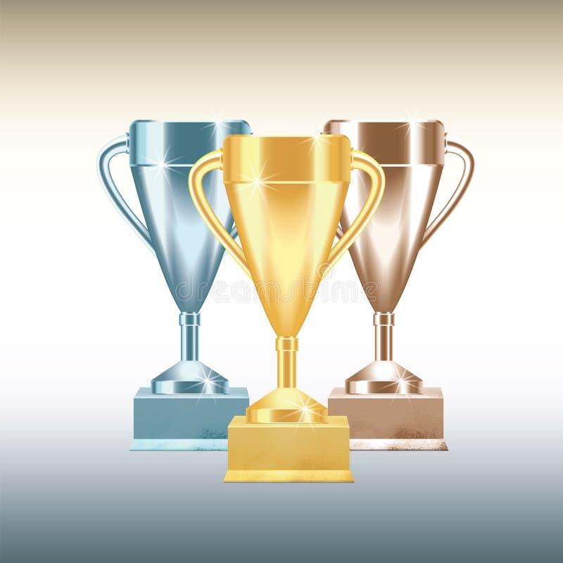 Fije de las tazas o de los cubiletes de oro, de bronce y de plata del trofeo aislados en el fondo blanco con pendientes Ilustraci stock de ilustración