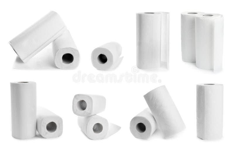 Fije de las toallas de papel en blanco imagen de archivo