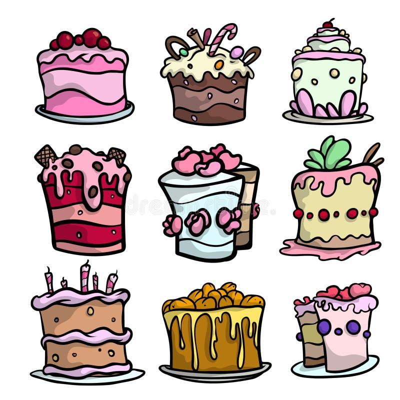 Fije de las tortas cremosas coloridas para diverso día de fiesta festivo stock de ilustración