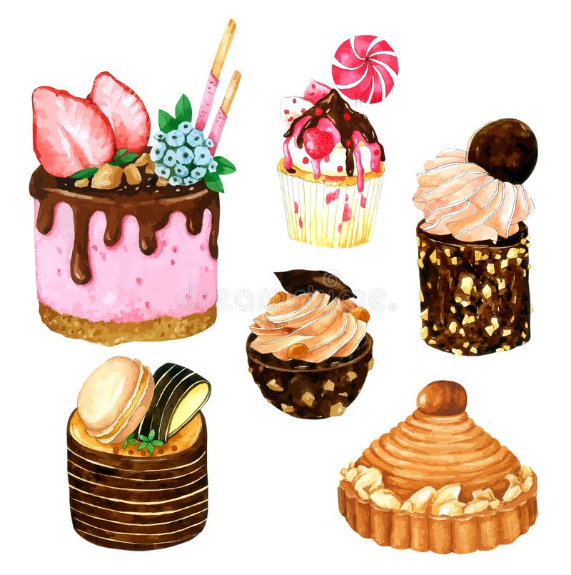 Fije de las tortas de la acuarela Acuarela del vector, mano dibujada para la tarjeta de felicitaci?n, libre illustration
