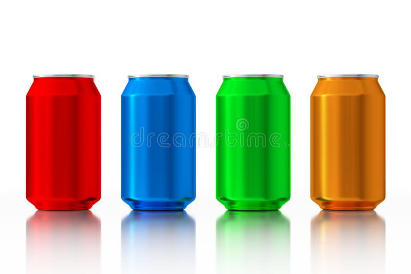 Fije de latas de aluminio en blanco multicoloras representación 3d ilustración del vector