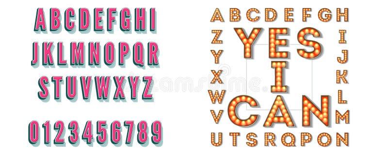 Fije de letras volumétricas retras con la sombra Lámparas eléctricas que brillan intensamente Letrero con las burbujas ligeras co libre illustration