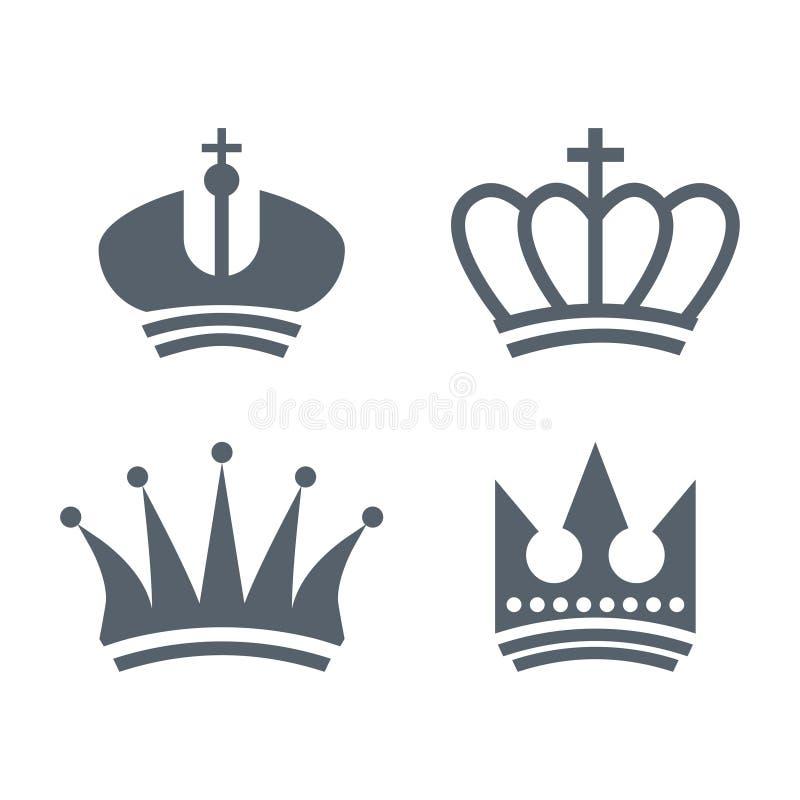 Fije de logotipo real heráldico de las coronas del vintage libre illustration