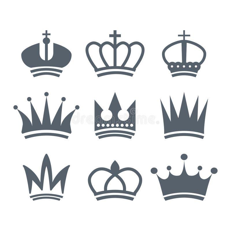 Fije de logotipo real her?ldico de las coronas del vintage en un vector blanco del fondo libre illustration