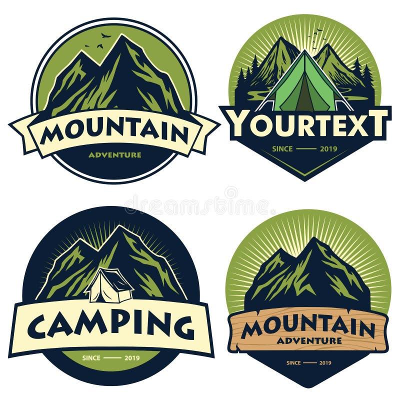 Fije de logotipos que acampan de la montaña, de plantillas, de elementos del diseño del vector, de aventura al aire libre y de Fo ilustración del vector