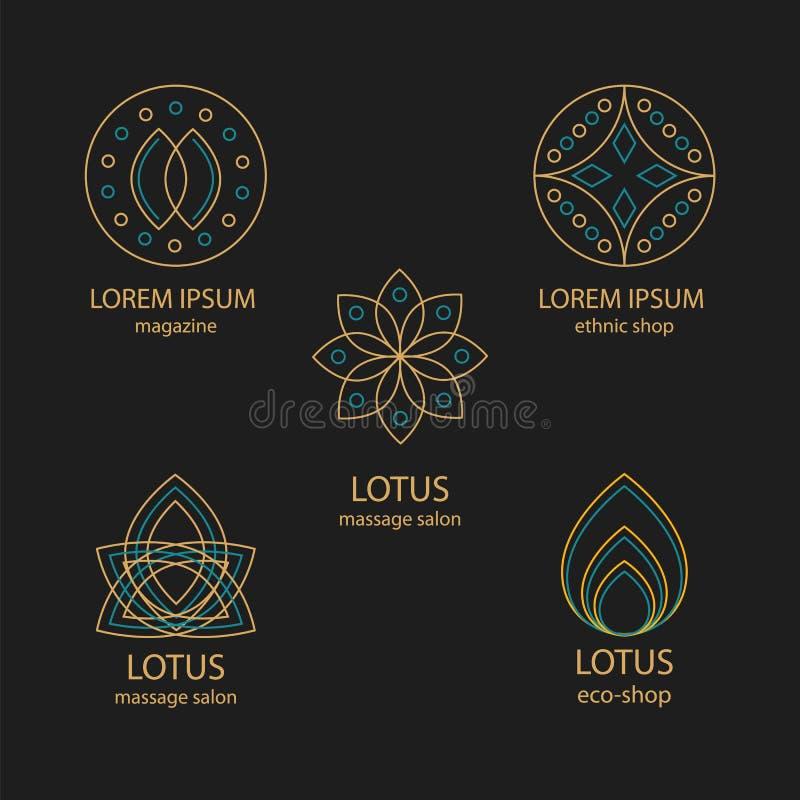 Fije de logotipos y de monogramas del diseño geométrico imágenes de archivo libres de regalías