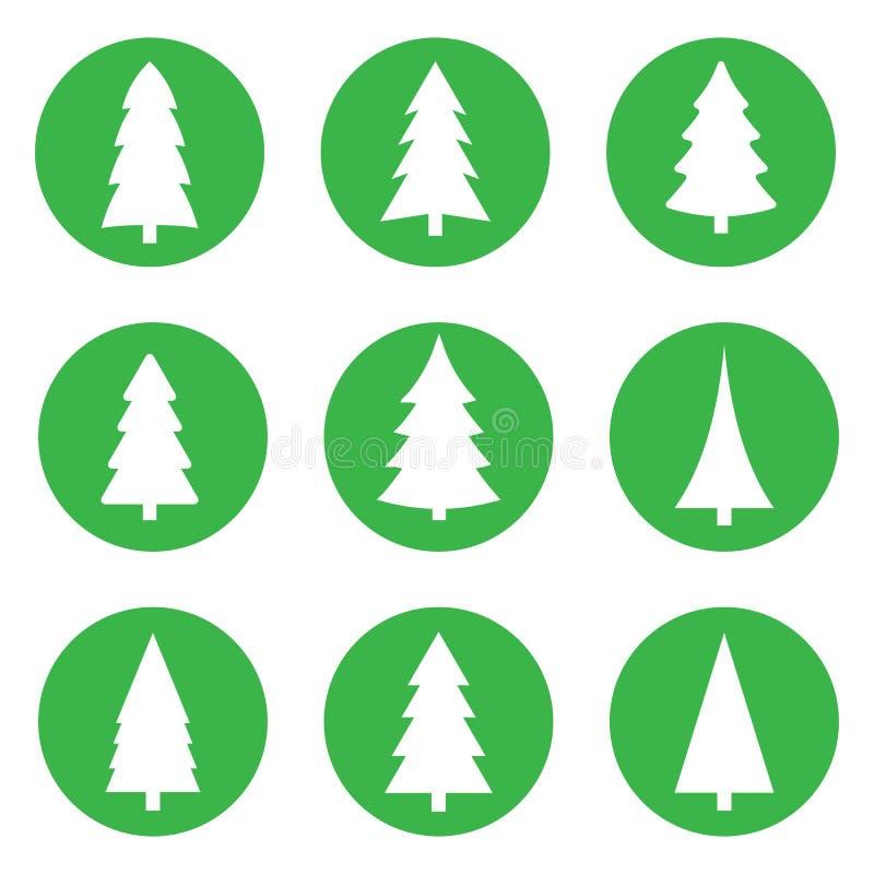 Fije de los árboles de navidad blancos en un círculo verde en un fondo blanco ilustración del vector