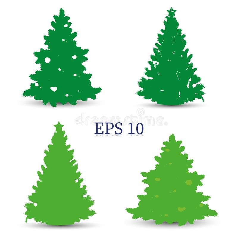 Fije de los árboles de navidad, silueta verde en el fondo blanco, libre illustration
