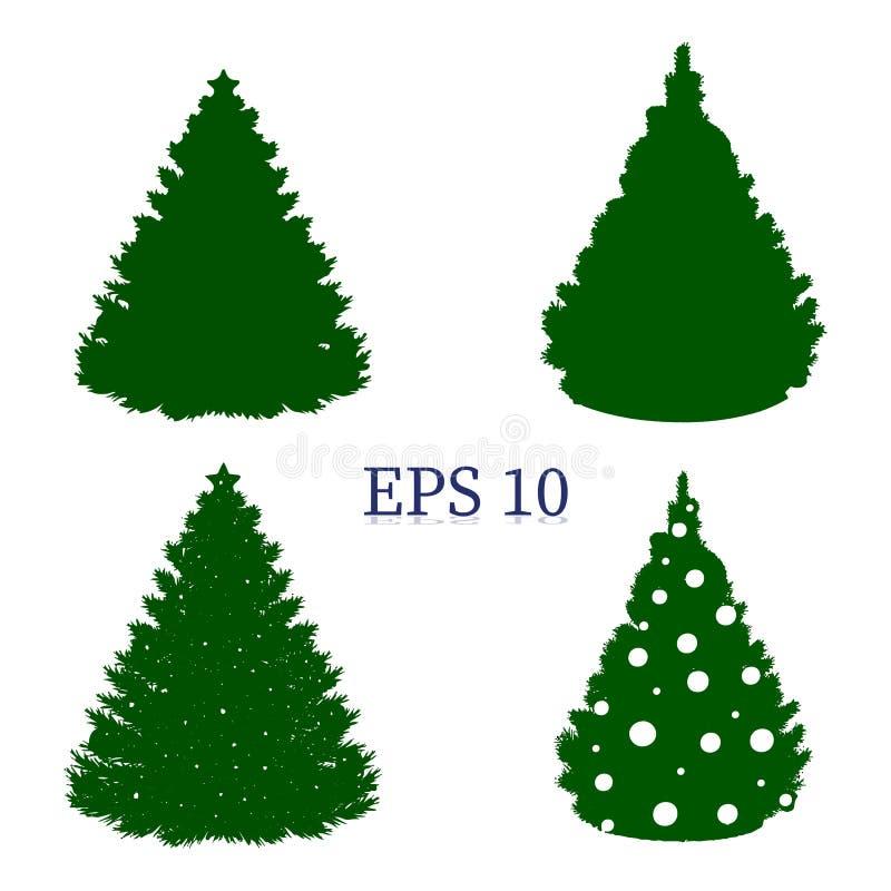 Fije de los árboles de navidad, silueta verde en el fondo blanco, ilustración del vector