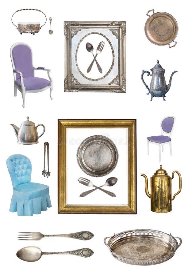 Fije de los artículos antiguos hermosos, marcos, muebles, platos retro vendimia Aislado en el fondo blanco imágenes de archivo libres de regalías