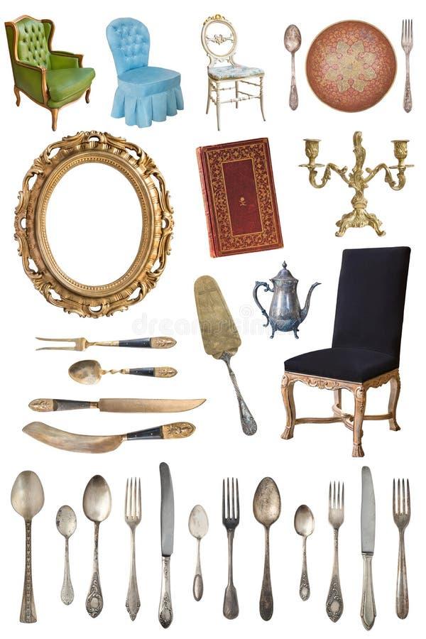 Fije de los artículos antiguos hermosos, marcos, muebles, platos retro vendimia Aislado en el fondo blanco fotografía de archivo libre de regalías