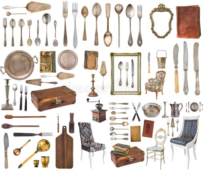 Fije de los art?culos antiguos hermosos, marcos, muebles, cubiertos retro vendimia Aislado en el fondo blanco imagenes de archivo