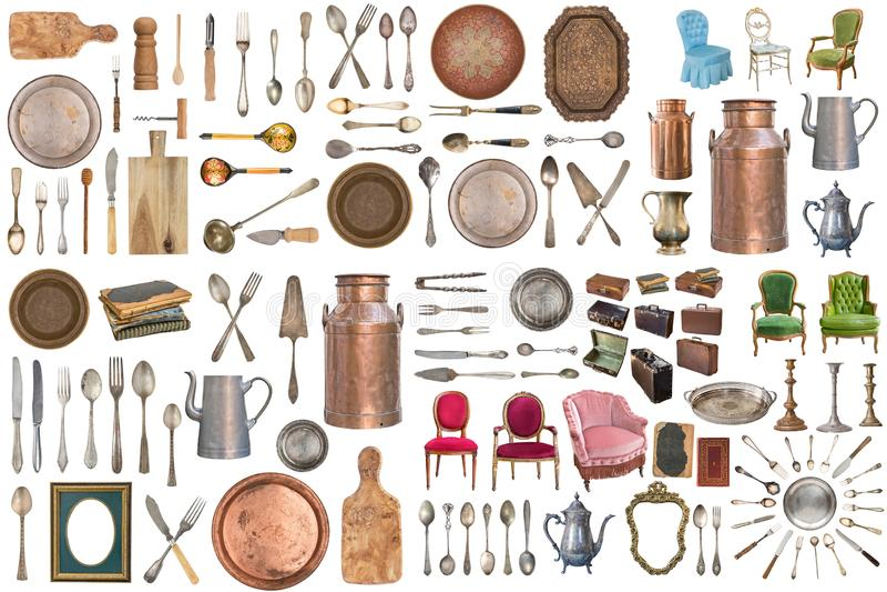 Fije de los art?culos antiguos hermosos, marcos, muebles, cubiertos retro vendimia Aislado en el fondo blanco foto de archivo