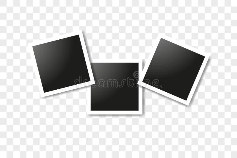 Fije de los bastidores cuadrados realistas, dise?o de la maqueta del marco de la foto del vector El vector enmarca el collage de  foto de archivo libre de regalías
