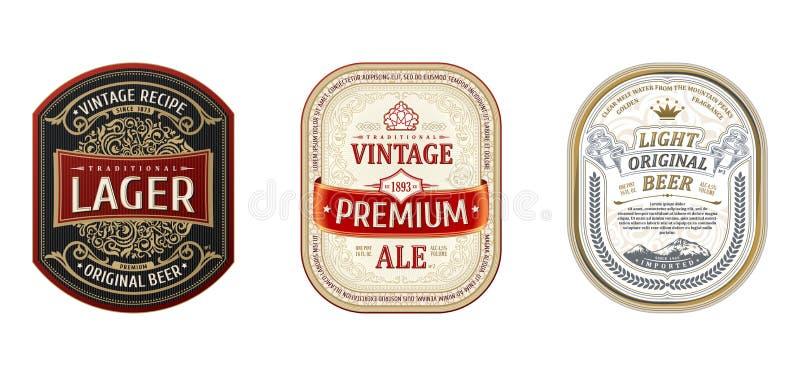 Fije de los bastidores del vintage para las etiquetas Cerveza de la botella de las etiquetas engomadas del oro ilustración del vector