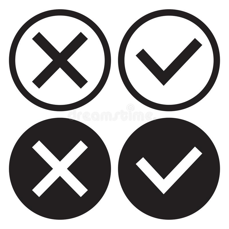 Fije de los botones blancos y negros del icono, de esquema y de diseño plano Confirmaci?n y rechazo S? y No Vector stock de ilustración