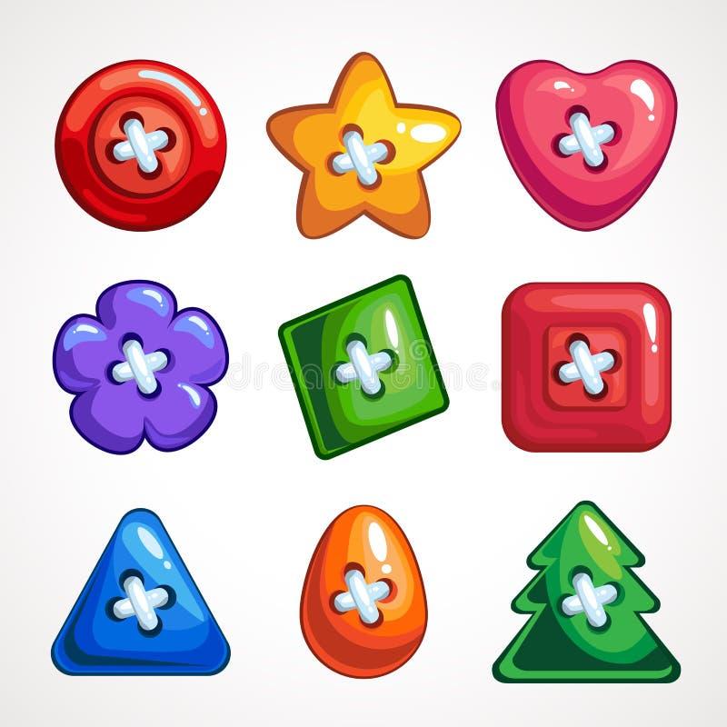 Fije de los botones coloridos brillantes lindos del vector para coser stock de ilustración