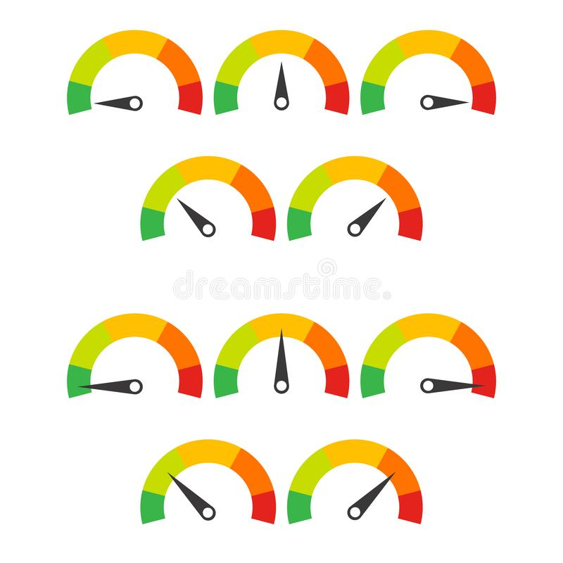 Fije de los botones del velocímetro con un a seis campos y cajas adicionales de la explicación libre illustration