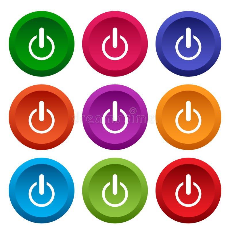 Fije de los botones de encendido de la web, botones redondos coloridos Vector ilustración del vector