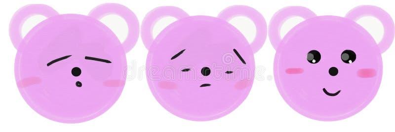 Fije de los bozales rosados de los osos de la historieta con emociones Ilustraci?n de la trama libre illustration