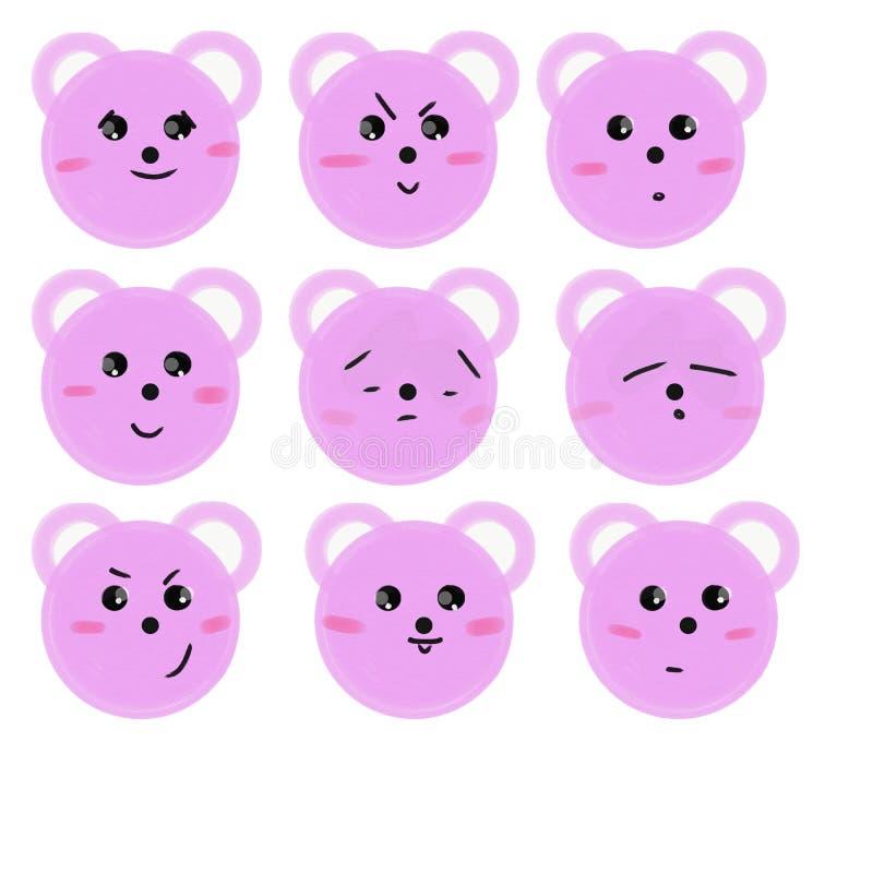 Fije de los bozales rosados de los osos de la historieta con emociones Ilustraci?n de la trama stock de ilustración