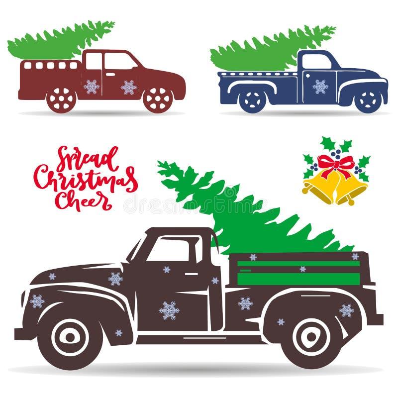 Fije de los camiones del día de fiesta que llevan un árbol de navidad Silueta Ob libre illustration