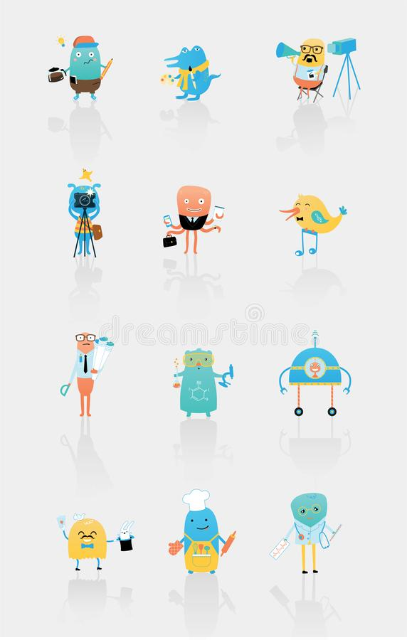Fije de los caracteres del vector que describen diversas profesiones ilustración del vector