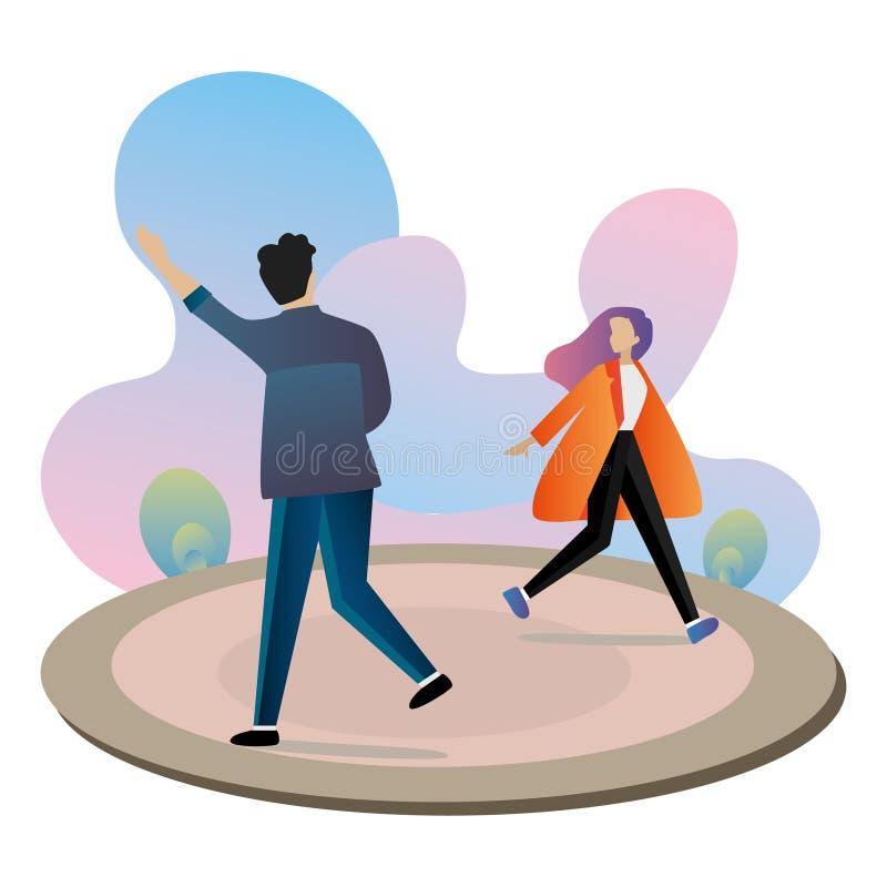 Fije de los caracteres, hombres y mujeres, haciendo compras y agitando para saludarse ilustración del vector