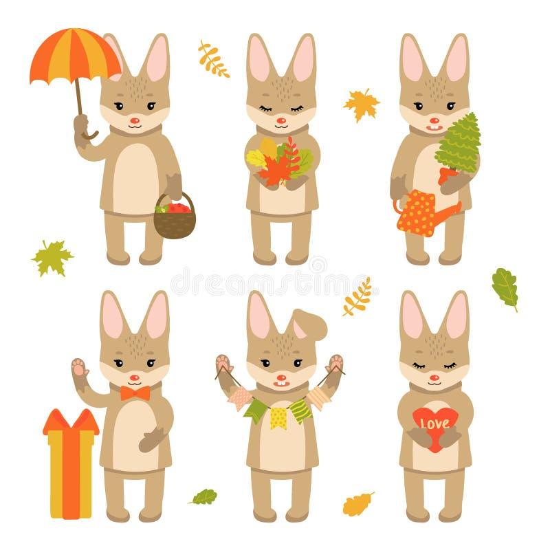 Fije de los caracteres lindos del conejo aislados en el fondo blanco Colección de caracteres del otoño Ejemplo del vector en stock de ilustración