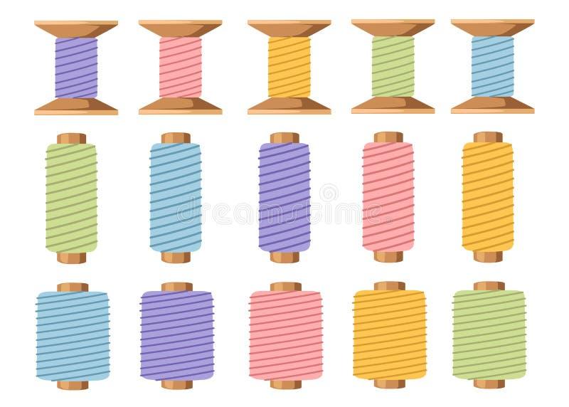 Fije de los carretes de madera del hilo Equipo para coser y adaptar Accesorio para la costura Ejemplo plano aislado encendido ilustración del vector