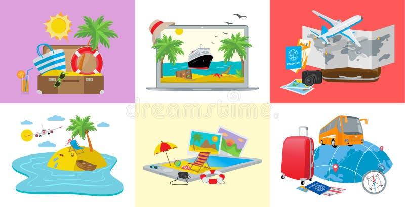 Fije de los conceptos del viaje, ejemplo isométrico del vector 3d stock de ilustración