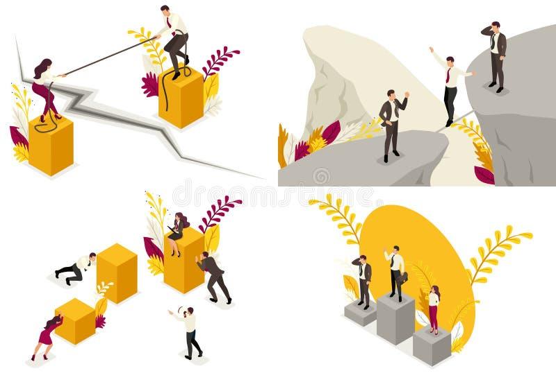 Fije de los conceptos isométricos del riesgo de negocio, caída, competencia, conflicto del socio, desacuerdos Para la página web  ilustración del vector