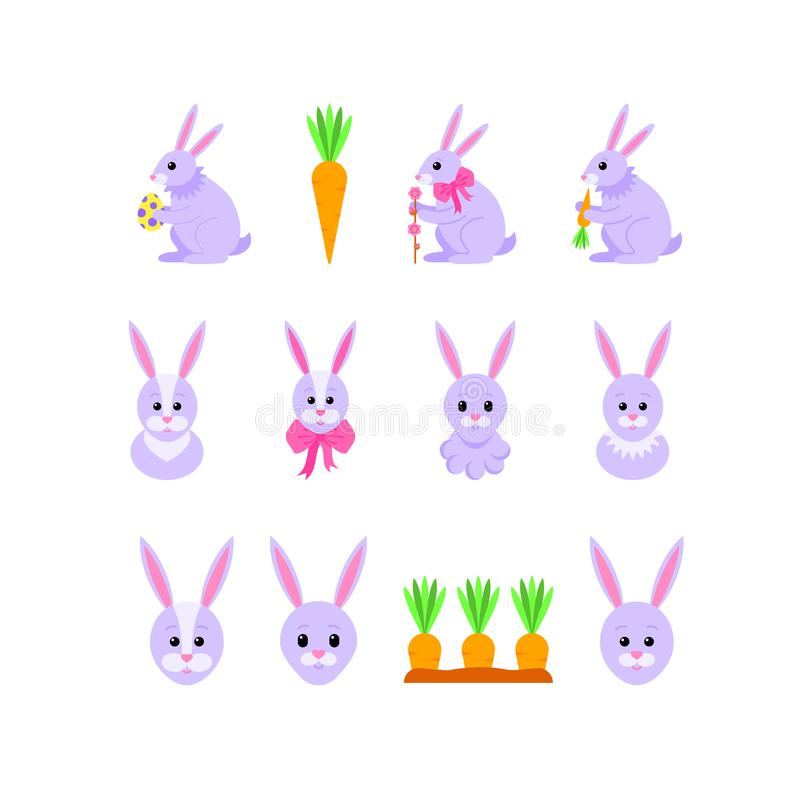 Fije de los conejitos de pascua para el d?a de fiesta de Pascua Ilustraci?n del vector libre illustration
