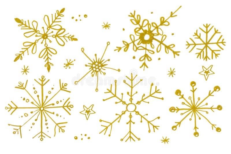 Fije de los copos de nieve de la acuarela del oro aislados en el fondo blanco libre illustration