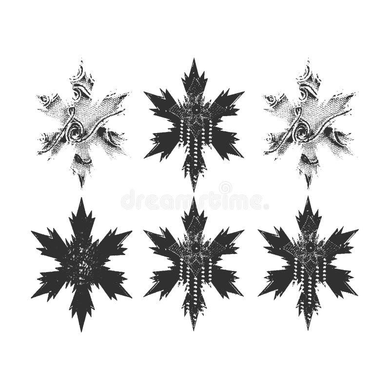Fije de los copos de nieve de las estrellas del vector seis en un fondo blanco ilustración del vector