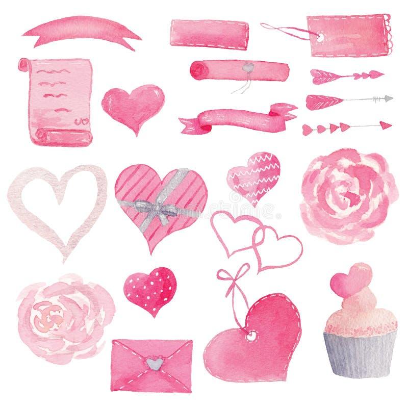 Fije de los corazones pintados a mano de la acuarela, torta, flores, flechas, ejemplo de las banderas stock de ilustración