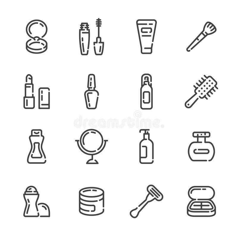 Fije de los cosméticos de la belleza y de los iconos del esquema del maquillaje Ilustraci?n del vector imagen de archivo