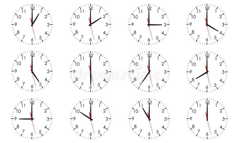 Fije de los diales de reloj que muestran diverso tiempo aislado ilustración del vector