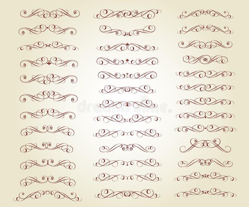 Fije de los divisores retros del texto y de las líneas caligráficas decorativas libre illustration