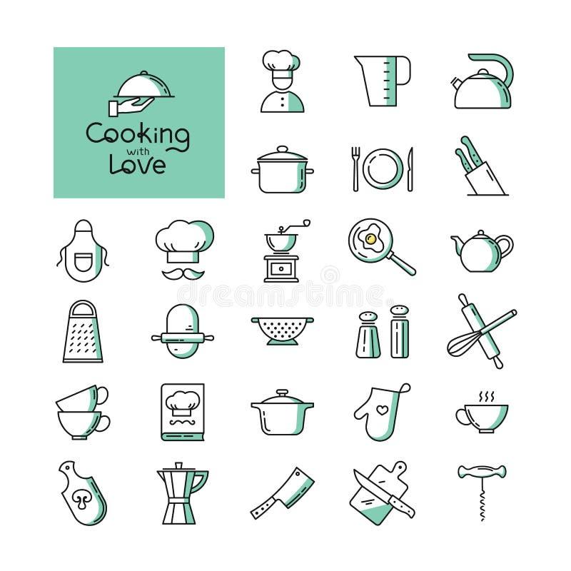 Fije de los dos iconos pixel-perfectos de la cocina de los colores en la línea estilo aislados en el fondo blanco libre illustration