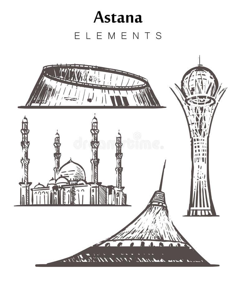 Fije de los edificios a mano de Astaná, ejemplo del vector del bosquejo de los elementos del Nur-sultán ilustración del vector