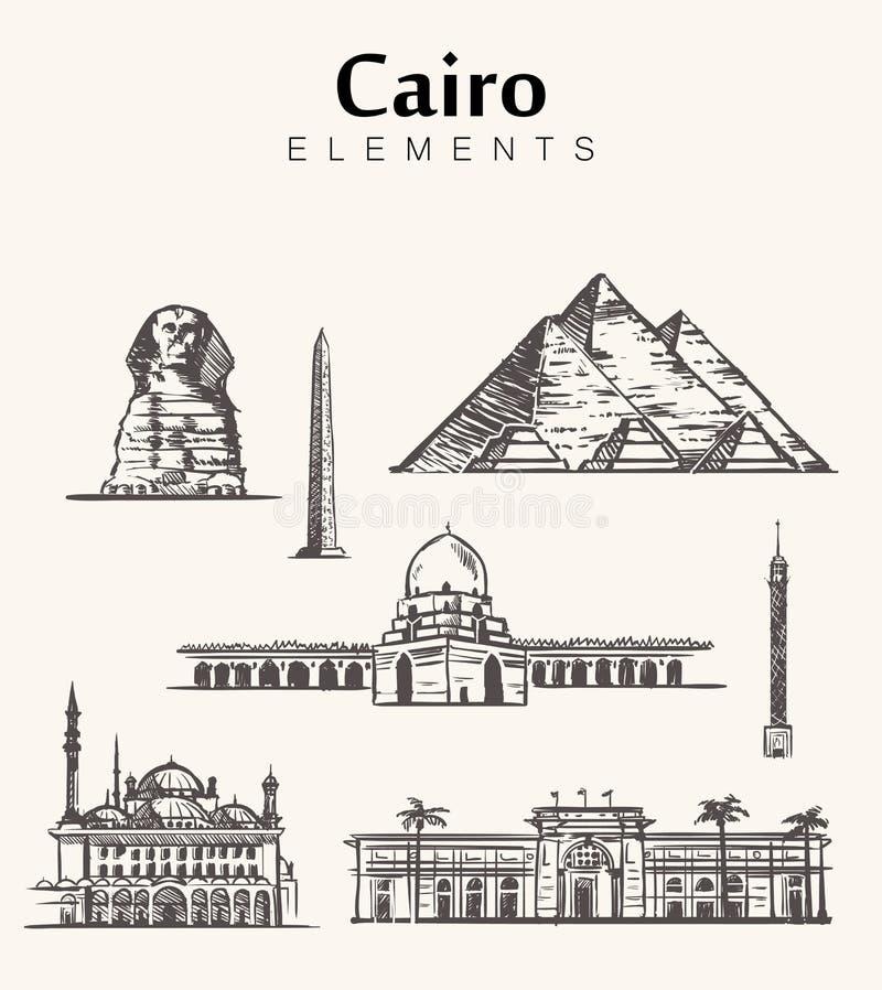 Fije de los edificios a mano de El Cairo Ejemplo del vector del bosquejo de Egipto libre illustration