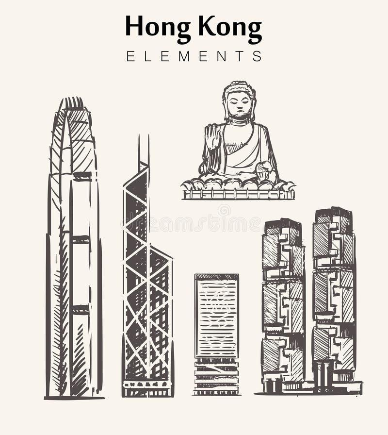 Fije de los edificios a mano de Hong Kong libre illustration
