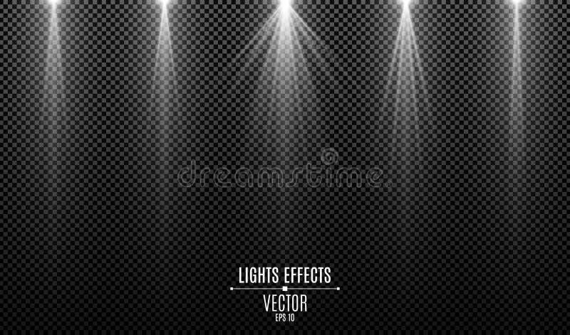 Fije de los efectos luminosos blancos aislados sobre un fondo transparente oscuro Rayos blancos Haces de la l?mpara El brillar in stock de ilustración