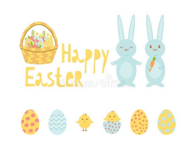 Fije de los elementos brillantes del vector para Pascua Includes coloreó los huevos, los polluelos, la cesta, conejos y las flore stock de ilustración